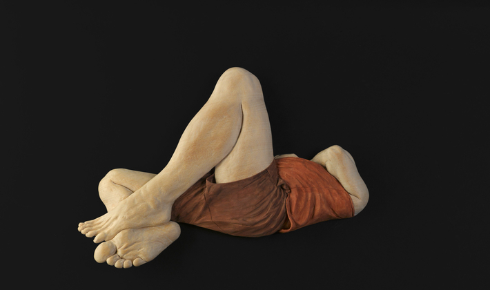 Relief Study of Andrew Lying Down in Brown Shorts 1